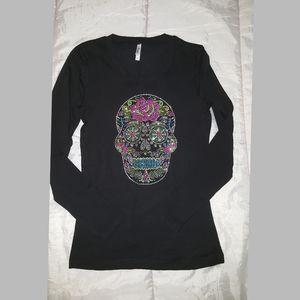 NEW Sugar Skull Rhinestones tshirt  long sleeves M